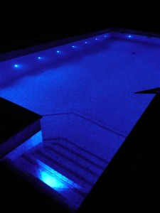 Insulated swimming pool by night