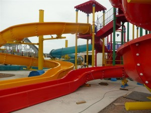 Swimming pool and slides at water park