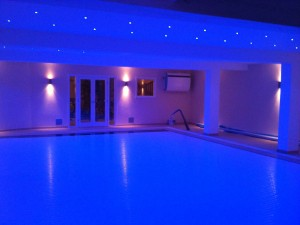 Indoor Deck Level Tiled Pool with LED colour changing lights