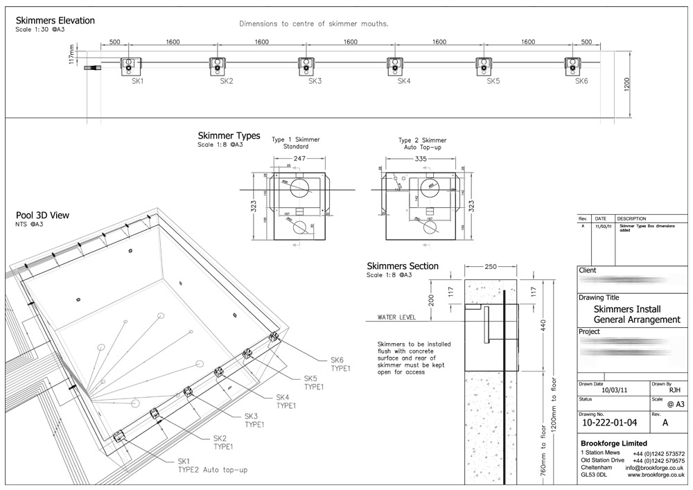 Swimming pool design and build from brookforge for Swimming pool construction drawings