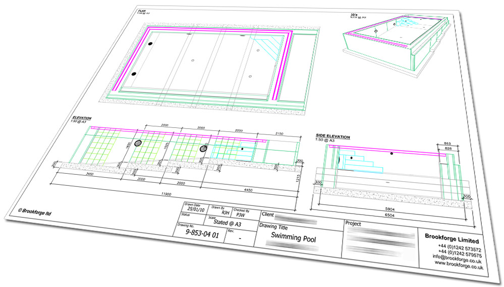 Indoor insulated overflow pool cambridgeshire brookforge swimming pool build for Swimming pool overflow detail dwg