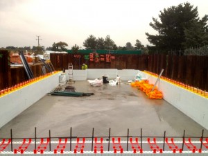 ICF quad lock pool walls in construction