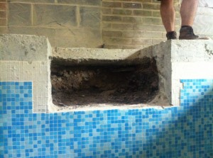 Old pool skimmer remove ready for new skimmer