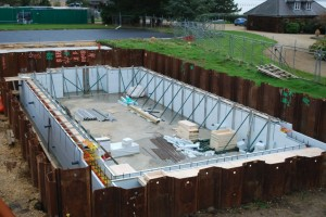 swimming pool shell braced ready for concrete