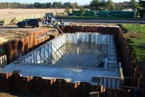 Pool shell post concrete pour