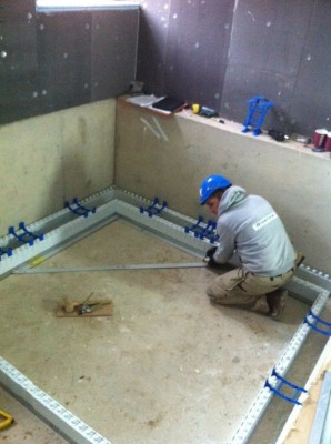 Setting out hydrotherapy spa walls