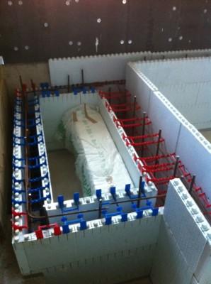 Quadlock spa balance tank shell during construction
