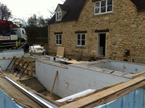 Concrete poured moreton in marsh brookforge swimming Basement swimming pool construction