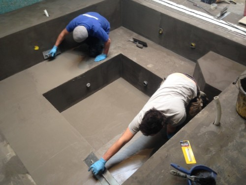 Spa shell during waterproof tanking application