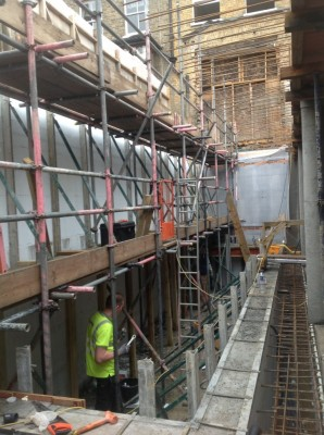 Basement swimming pool during construction