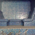 Wrapped bench in Poolside steam room
