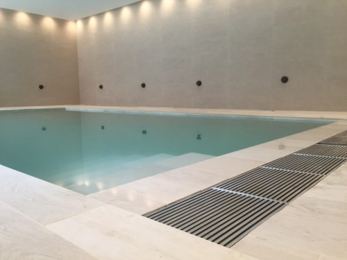 New Build Swimming Pool With Metal Overflow Grating Pool