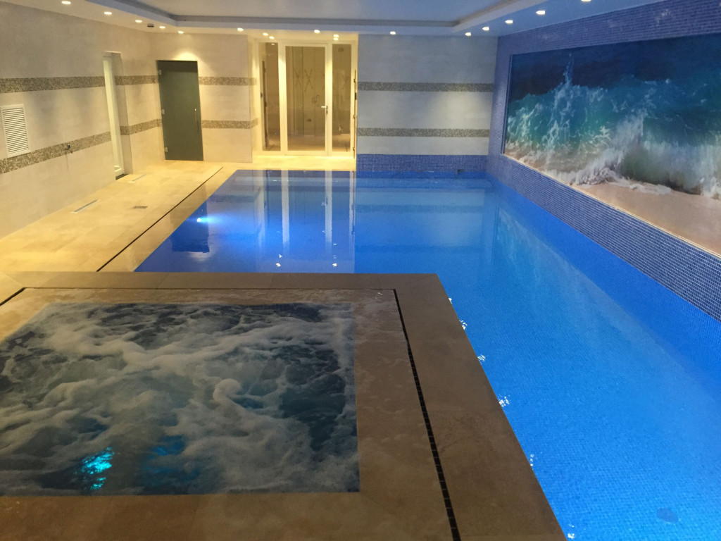 Hidden overflow pool constructed in the basement new build for Swimming pool in