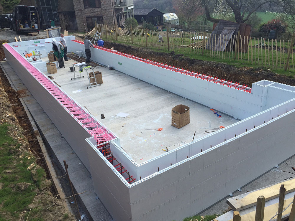 New build outdoor pool during construction - Cinder block swimming pool construction ...