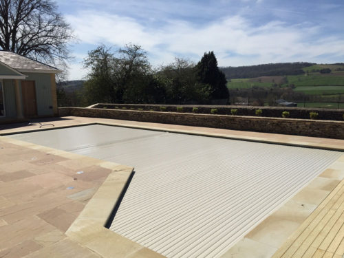 Refurbished swimming pool cover closed