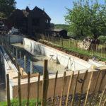Concrete pump sets up onsite