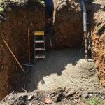 Pumping concrete base for balance tank
