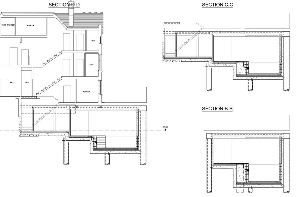 New build basement swimming pool in london for Swimming pool construction drawings