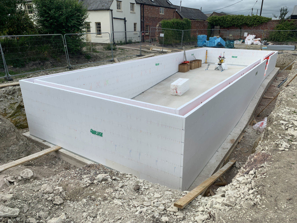 ICF pool construction ready for bracing