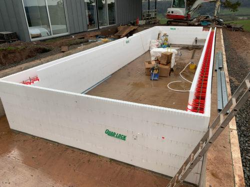 Quadlock ICF pool shell construction